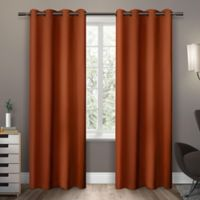 Exclusive Home Sateen 63-Inch Room-Darkening Grommet Top Window Curtain Panel Pair in Orange