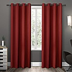 Sateen 63-Inch Grommet Top Room Darkening Window Curtain Panel Pair in Red