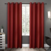 Exclusive Home Sateen 63-Inch Room-Darkening Grommet Top Window Curtain Panel Pair in Red