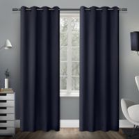 Exclusive Home Sateen 84-Inch Room-Darkening Grommet Top Window Curtain Panel Pair in Blue