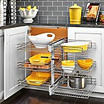 Rev-A-Shelf 5PSP3-15SC-CR 15 in. Blind Corner Cabinet Chrome 3-Tier Wire Basket w/Soft-Close Slides