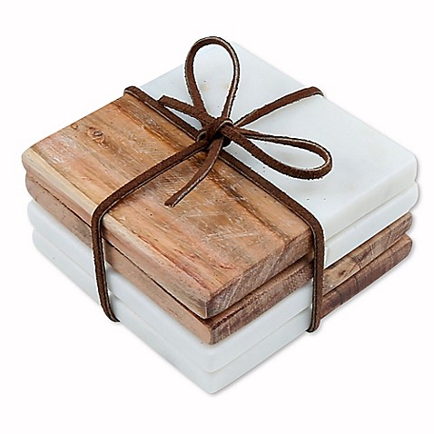 thirstystone white marble acacia coasters set of 4 bed bath beyond. Black Bedroom Furniture Sets. Home Design Ideas