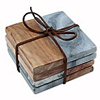 Thirstystone® Grey Marble/Acacia Coasters (Set of 4)