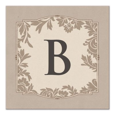 Designs Direct Floral Damask Monogram Canvas Wall Art