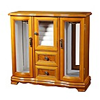 Mele & Co. Lyra Glass Door Wooden Jewelry Box in Light Oak/Burlwood Finish