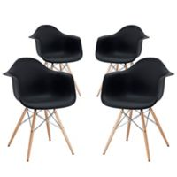 Modway Pyramid Dining Armchairs in Black (Set of 4)