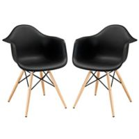 Modway Pyramid Dining Arm Chair in Black (Set of 2)