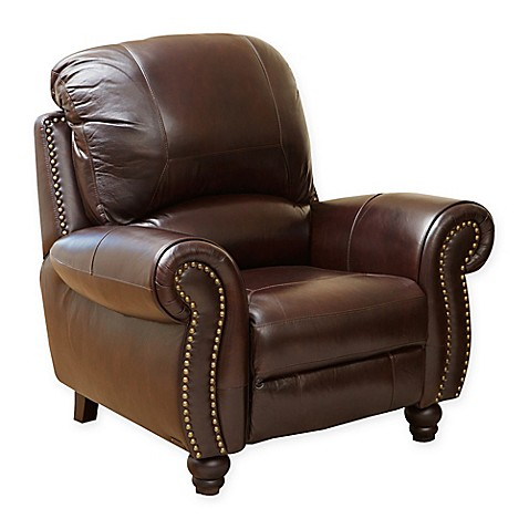Abbyson living charlotte leather recliner in burgundy for Abbyson living sedona leather chaise recliner