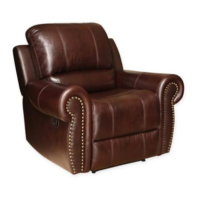 abbyson living sedona leather recliner in burgundy
