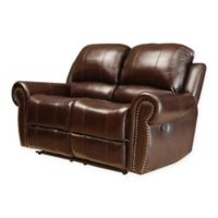 Abbyson Living® Sedona Leather Loveseat in Burgundy