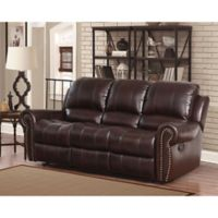 Abbyson Living® Sedona Leather Sofa in Burgundy