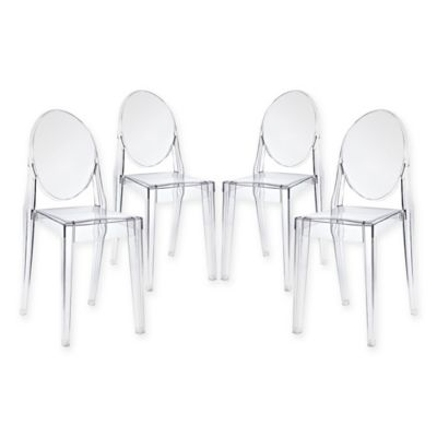 Modway Casper Dining Side Chairs In Clear (Set Of 4)