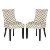 Safavieh Lester Dining Chairs in Grey/White Chevron Print (Set of 2)