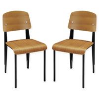 Modway Cabin Wood Dining Side Chair in Walnut (Set of 2)