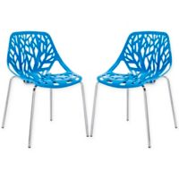 Modway Stencil Side Chair in Blue (Set of 2)