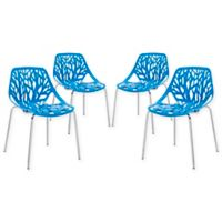 Modway Stencil Side Chair in Blue (Set of 4)