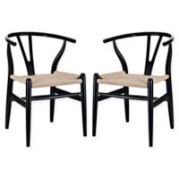 Modway Amish Dining Arm Chairs in Black (Set of 2)