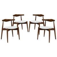Modway Stalwart Dining Side Chair in Dark Walnut/White (Set of 4)