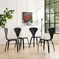 Modway Vortex Wood Dining Chairs in Black (Set of 4)