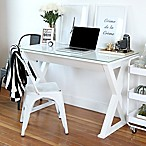 "Forest Gate 48"" X-Frame Glass Computer Desk in White"