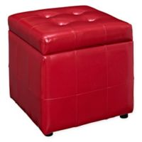 Modway Tufted Leatherette Ottoman in Red