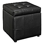 Modway Tufted Leatherette Ottoman in Black