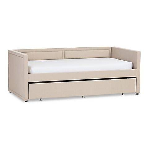 Baxton Studio Raymond Linen Sofa Twin Bed Bed Bath & Beyond