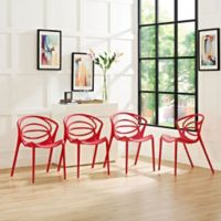 Modway Locus Dining Chair in Red (Set of 4)