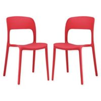 Modway Hop Dining Side Chairs in Red (Set of 2)