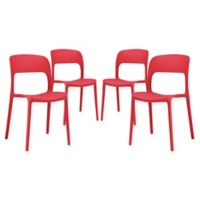 Modway Hop Dining Side Chairs in Red (Set of 4)