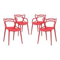 Modway Entangled Dining Arm Chairs in Red (Set of 4)