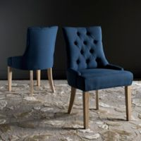 "Safavieh Abby 19"" H Tufted Side Chairs in Steel Blue (Set of 2)"