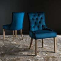 "Safavieh Abby 19"" H Tufted Side Chairs in Navy (Set of 2)"