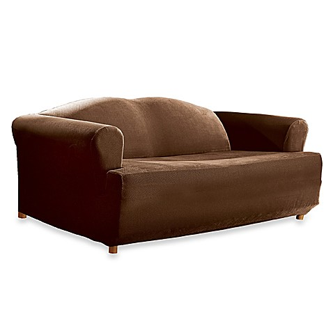 Stretch Pique Chocolate T Cushion Sofa Slipcover By Sure