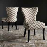 "Safavieh Jappic 20"" H Chevron Ring Side Chair in Grey/White"
