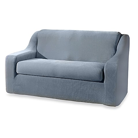 Buy stretch pique federal blue 2 piece loveseat slipcover by sure fit from bed bath beyond Blue loveseat slipcover