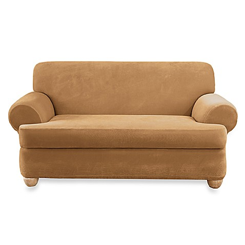 Stretch Pique Camel 2 Piece T Cushion Loveseat Slipcover By Sure Fit Bed Bath Beyond