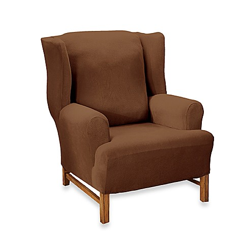 Stretch pique chocolate wingback chair slipcover by sure for Sure fit stretch slipcovers clearance