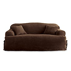Sure Fit Soft Suede T Cushion Sofa Slipcover Bed Bath
