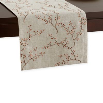 Beau 72 Inch Embroidered Fall Leaves Runner In Natural