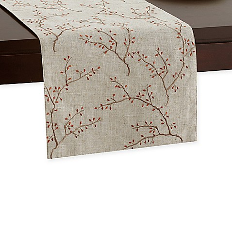 Embroidered Fall Branches Runner In Natural Bed Bath