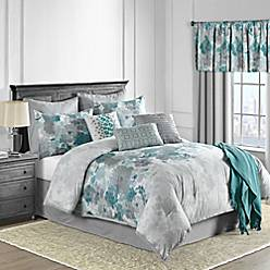 Claire 10 Piece Comforter Set In Teal Bed Bath Amp Beyond
