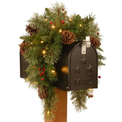 National Tree Company 36-Inch Colonial Mailbox Swag with Warm White LED