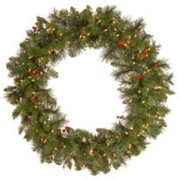 National Tree 36-Inch Crestwood Spruce Pre-Lit Christmas Wreath