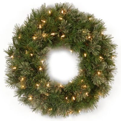 Buy 24 lighted outdoor wreath from bed bath beyond national tree 24 inch atlanta spruce pre lit christmas wreath with clear lights aloadofball Gallery