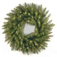 National Tree 24-Inch Dunhill Fir Pre-Lit Christmas Wreath with Clear Lights