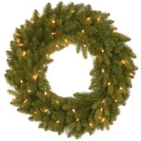 National Tree 24-Inch Avalon Spruce Wreath with Clear Lights