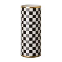 Emissary Torino Checker Vase in Black/White/Gold