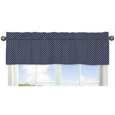 sweet jojo designs geometric hexagon window valance in navywhite
