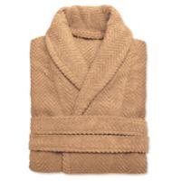 Linum Home Textiles Small/Medium Herringbone Unisex Turkish Cotton Bathrobe in Sand